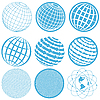 Vector clipart: Icons with Globes