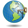 Vector clipart: key in globe