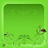 Vector clipart: ladybird on green