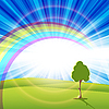 Vector clipart: tree and rainbow