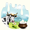 Cow and milk | Stock Vector Graphics