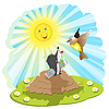 Vector clipart: mole and bird