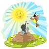 Vector clipart: mole and bird