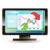 Векторный клипарт: монитор с графиком