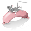 Vector clipart: mouse and sausage