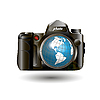 Photo camera and globe | Stock Vector Graphics