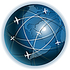 Vector clipart: airplanes over globe