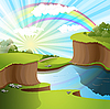 Vector clipart: river and rainbow