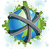 Vector clipart: roads over globe