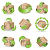 Vector clipart: brown boxes and green arrows