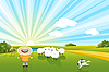 Vector clipart: Sheeps And Dog