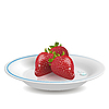 Vector clipart: strawberry on saucer