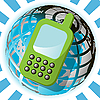 Векторный клипарт: Телефон и земной шар