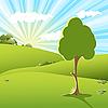 Векторный клипарт: дерево заката