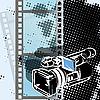 Videokamera auf weißem Hintergrund