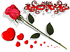 Vector clipart: love - rose and hearts
