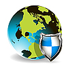 Vector clipart: Globe and shield