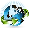 Векторный клипарт: земной шар и зеленая стрелка