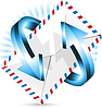 Vector clipart: envelope and blue arrows
