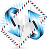 Vektor Cliparts: Umschlag und blaue Pfeile
