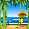 Vector clipart: frog on beach