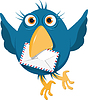 Vector clipart: blue bird with an envelope