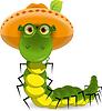 Vector clipart: caterpillar in hat