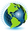 Vector clipart: globe and blue ray