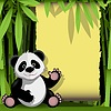 Vector clipart: jolly panda in bamboo forest
