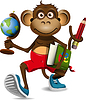 Vector clipart: monkey student