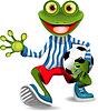Rana jugador de fútbol | Ilustración vectorial