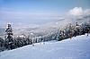 Ski slope and winter mountains panorama | Stock Foto