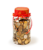 Coins in jar bank as gift | Stock Foto