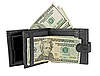 Black leather wallet with money | Stock Foto