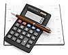 Calculator with pen in notebook | Stock Foto
