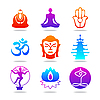 Vector clipart: buddha color icons