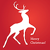 Vector clipart: Merry Christmas card with deer