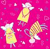Векторный клипарт: фон из ангелочков с сердцечками