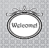 Vector clipart: Welcome in oval frame