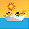 Vector clipart: boat with happy kids