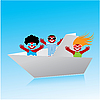 Vector clipart: origami boat with people