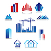 Icons of buildings | Stock Vector Graphics