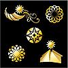 Vector clipart: golden sun icons