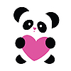 Panda with heart | Stock Vector Graphics