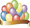 Vector clipart: air balloons and ribbon
