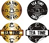 Vector clipart: tea time stamp set