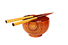 Chopsticks with wooden bowl  | Stock Foto