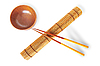 Rolled bamboo mat with chopsticks | Stock Foto