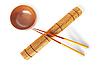 Палочки для еды с деревянной миской | Фото