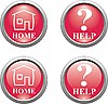 set of red web icons